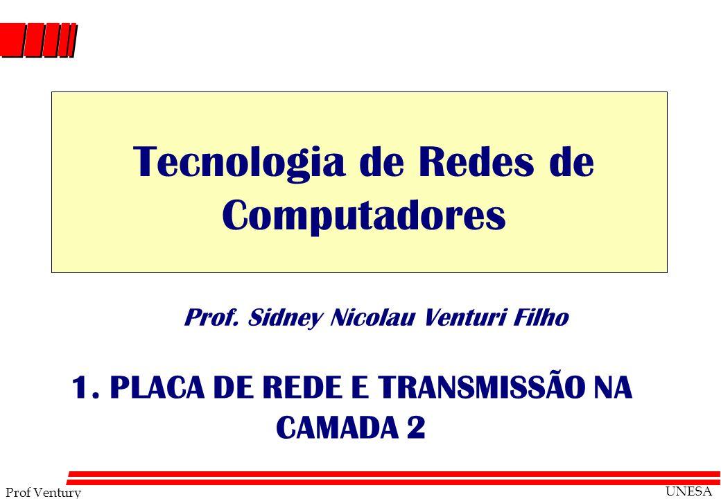 Prof Ventury UNESA Prof. Sidney Nicolau Venturi Filho 1. PLACA DE REDE E TRANSMISSÃO NA CAMADA 2 Tecnologia de Redes de Computadores