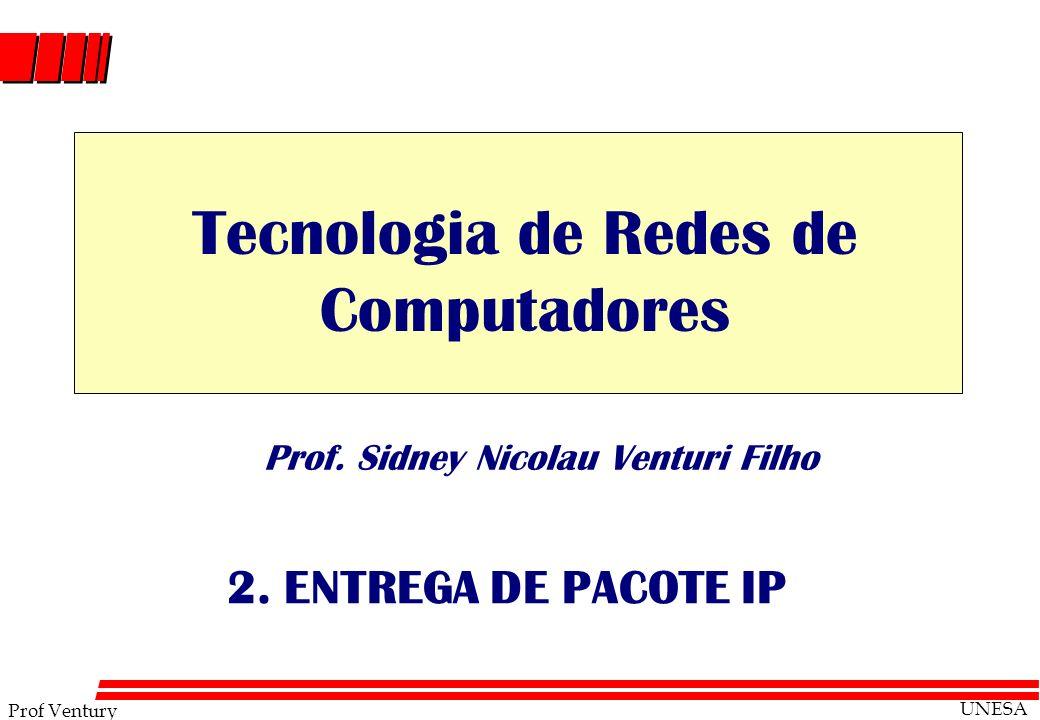 Prof Ventury UNESA Prof. Sidney Nicolau Venturi Filho 2. ENTREGA DE PACOTE IP Tecnologia de Redes de Computadores