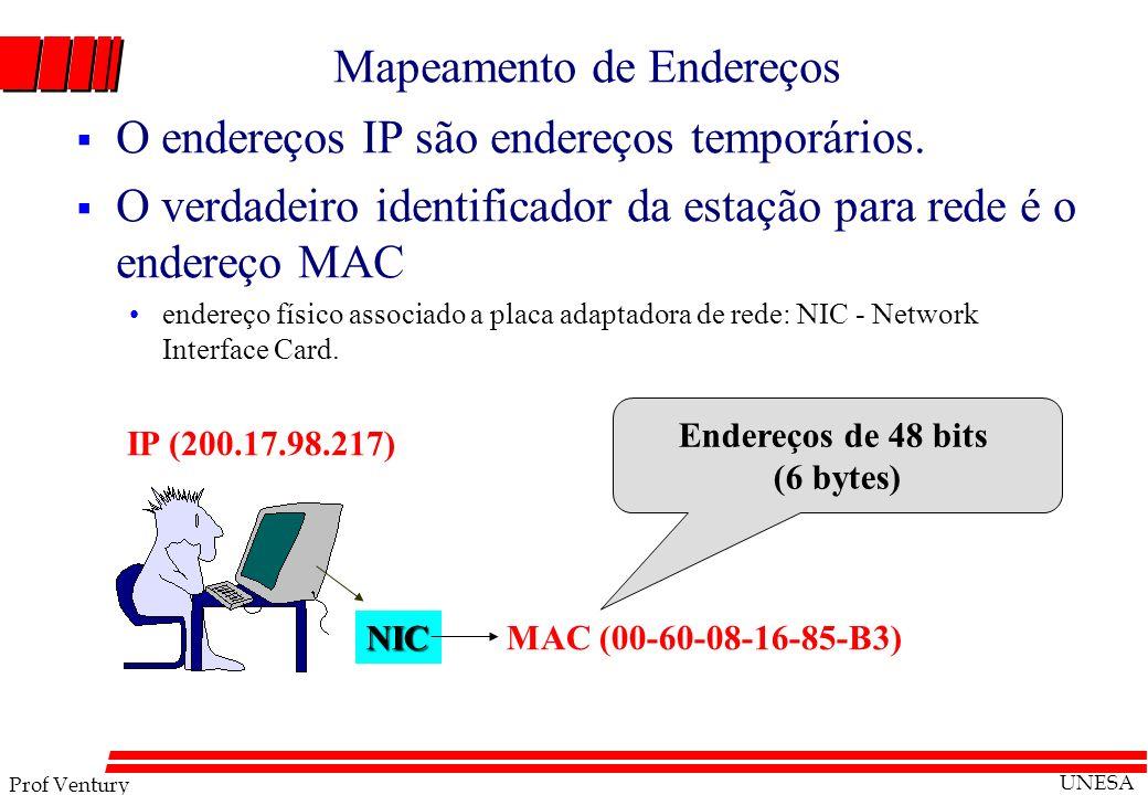 Prof Ventury UNESA Mapeamento de Endereços O endereços IP são endereços temporários. O verdadeiro identificador da estação para rede é o endereço MAC