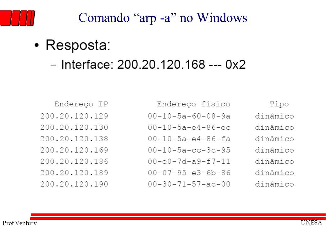 Prof Ventury UNESA Comando arp -a no Windows