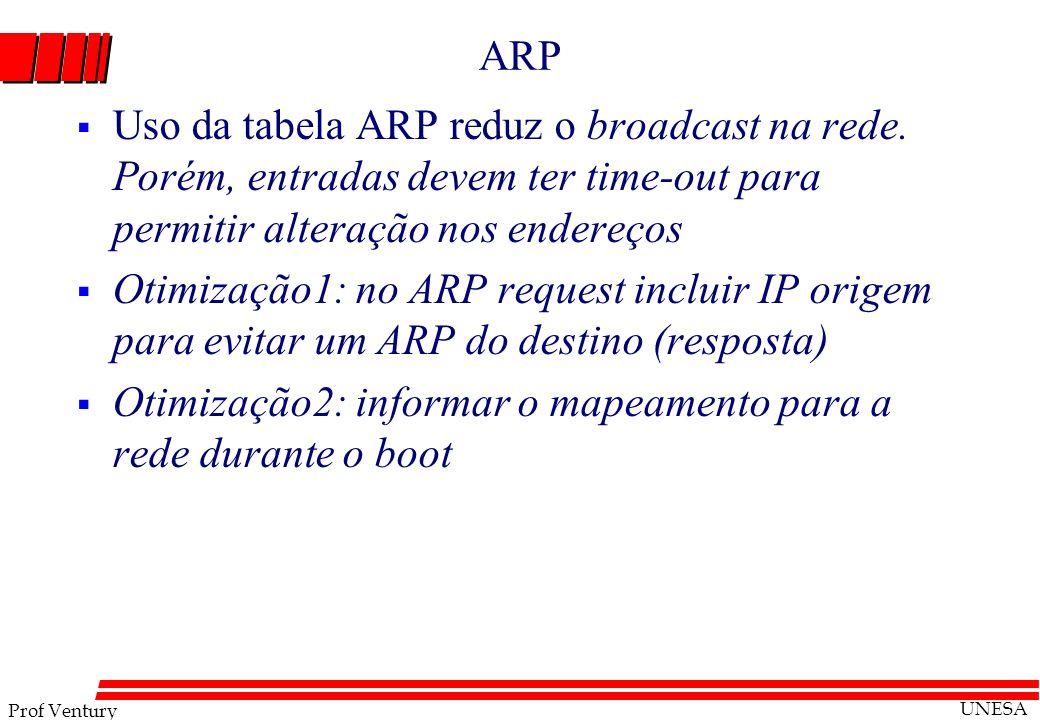 Prof Ventury UNESA ARP Uso da tabela ARP reduz o broadcast na rede. Porém, entradas devem ter time-out para permitir alteração nos endereços Otimizaçã