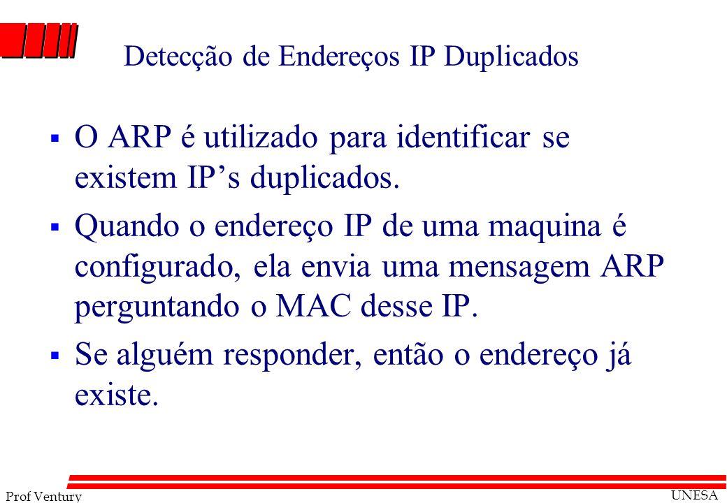 Prof Ventury UNESA Detecção de Endereços IP Duplicados O ARP é utilizado para identificar se existem IPs duplicados. Quando o endereço IP de uma maqui