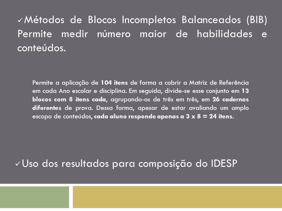Métodos de Blocos Incompletos Balanceados (BIB) Permite medir número maior de habilidades e conteúdos. Uso dos resultados para composição do IDESP Per