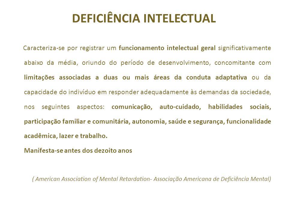 DEFICIÊNCIA INTELECTUAL Caracteriza-se por registrar um funcionamento intelectual geral significativamente abaixo da média, oriundo do período de dese