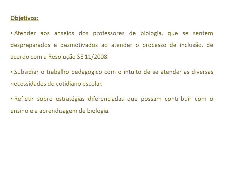 Objetivos: Atender aos anseios dos professores de biologia, que se sentem despreparados e desmotivados ao atender o processo de inclusão, de acordo com a Resolução SE 11/2008.