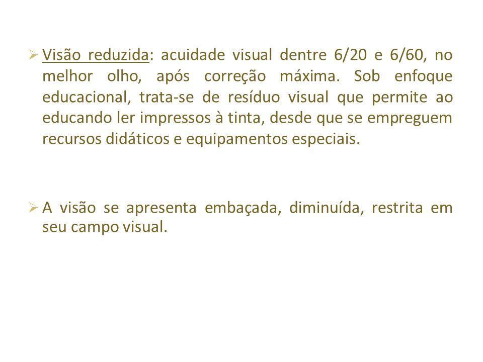 Visão reduzida: acuidade visual dentre 6/20 e 6/60, no melhor olho, após correção máxima.