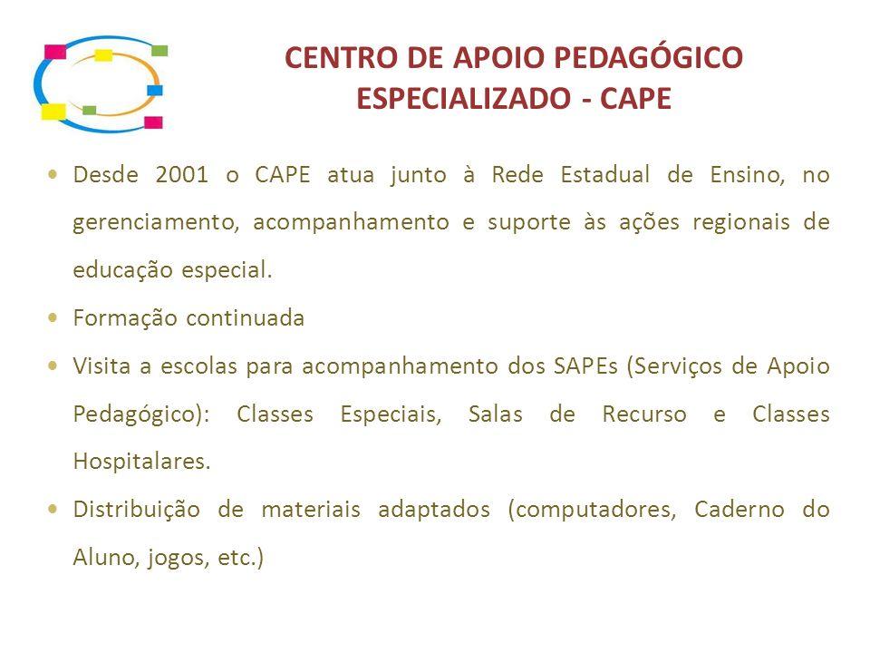 CENTRO DE APOIO PEDAGÓGICO ESPECIALIZADO - CAPE Desde 2001 o CAPE atua junto à Rede Estadual de Ensino, no gerenciamento, acompanhamento e suporte às ações regionais de educação especial.