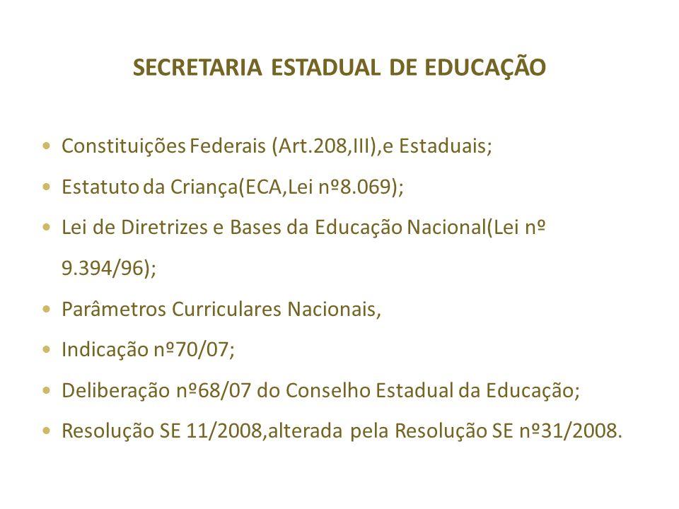 SECRETARIA ESTADUAL DE EDUCAÇÃO Constituições Federais (Art.208,III),e Estaduais; Estatuto da Criança(ECA,Lei nº8.069); Lei de Diretrizes e Bases da Educação Nacional(Lei nº 9.394/96); Parâmetros Curriculares Nacionais, Indicação nº70/07; Deliberação nº68/07 do Conselho Estadual da Educação; Resolução SE 11/2008,alterada pela Resolução SE nº31/2008.