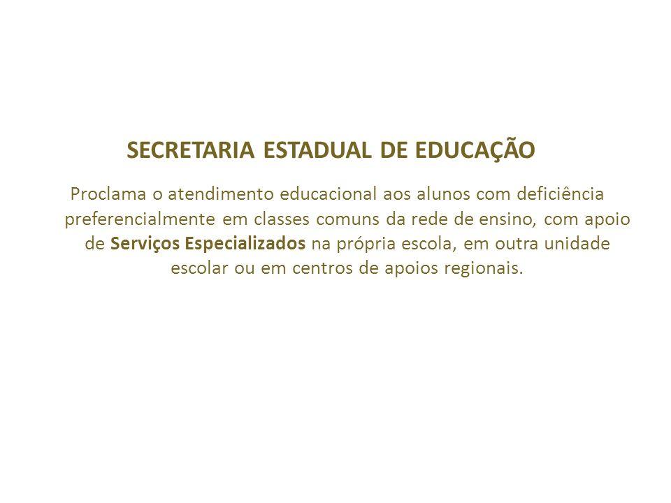 Proclama o atendimento educacional aos alunos com deficiência preferencialmente em classes comuns da rede de ensino, com apoio de Serviços Especializa