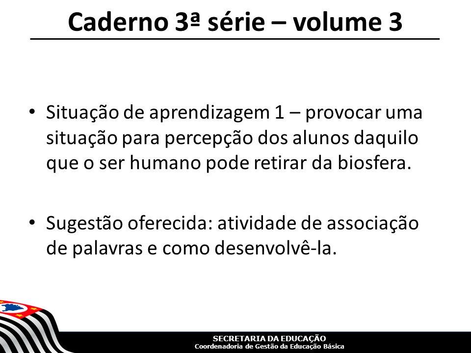SECRETARIA DA EDUCAÇÃO Coordenadoria de Gestão da Educação Básica Caderno 3ª série – volume 3 Situação de aprendizagem 1 – provocar uma situação para percepção dos alunos daquilo que o ser humano pode retirar da biosfera.