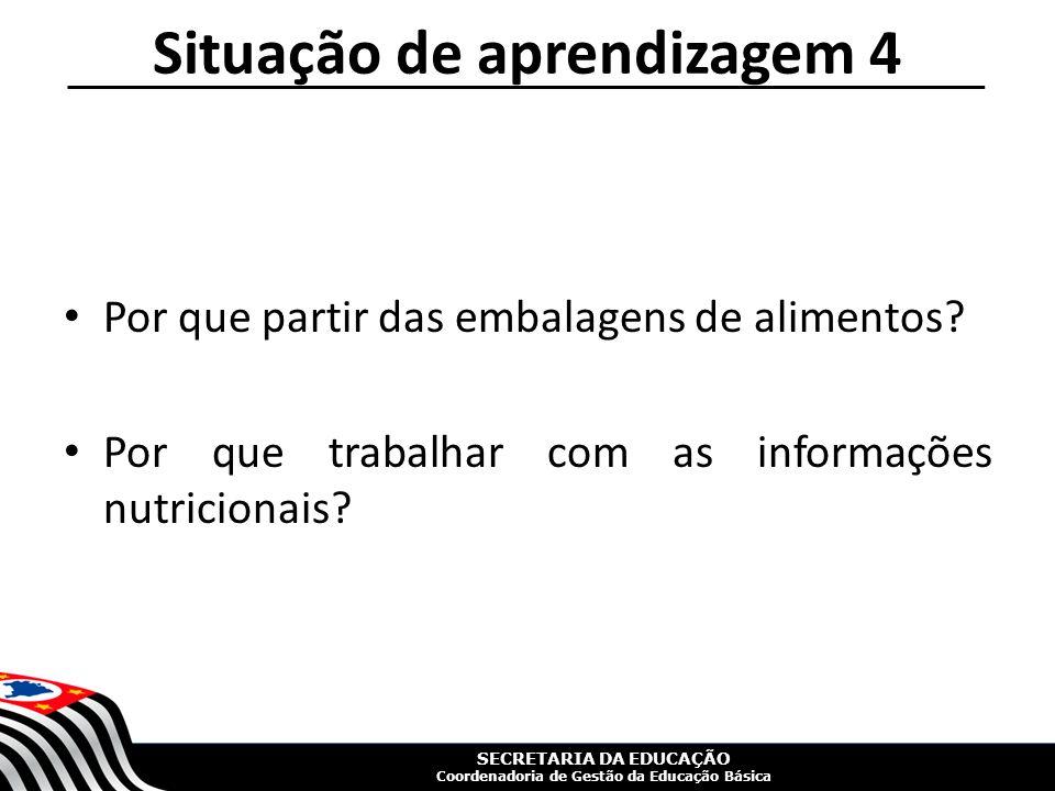 SECRETARIA DA EDUCAÇÃO Coordenadoria de Gestão da Educação Básica Por que partir das embalagens de alimentos.
