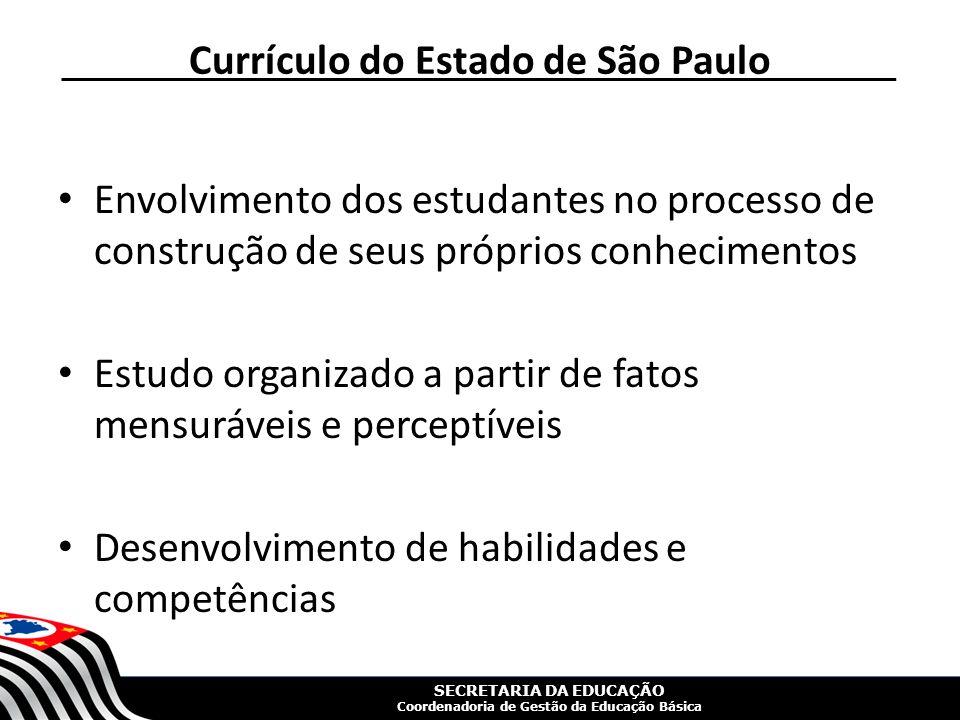 SECRETARIA DA EDUCAÇÃO Coordenadoria de Gestão da Educação Básica Currículo do Estado de São Paulo Envolvimento dos estudantes no processo de construção de seus próprios conhecimentos Estudo organizado a partir de fatos mensuráveis e perceptíveis Desenvolvimento de habilidades e competências