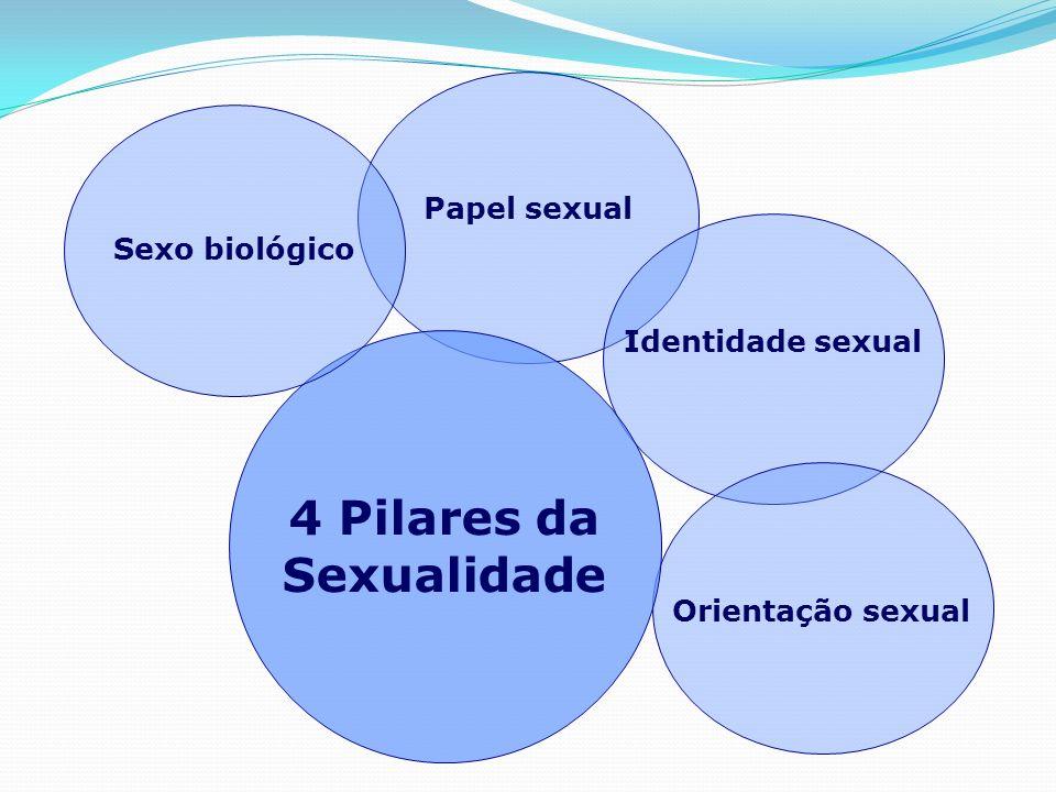 4 Pilares da Sexualidade Sexo biológico – constituído por características fenotípicas (órgãos genitais, mama, barba, etc.) e genotípicas (gene masculino XY e feminino XX).
