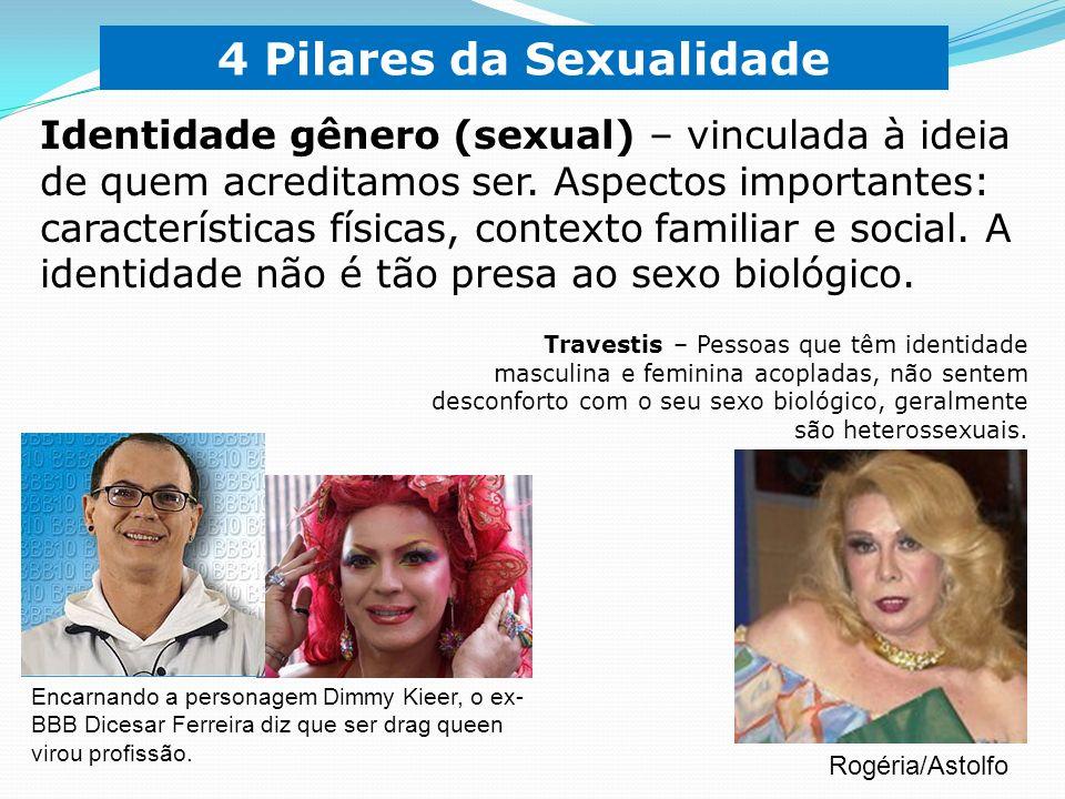 Transexuais – Pessoas que têm identidade oposta ao seu sexo biológico.