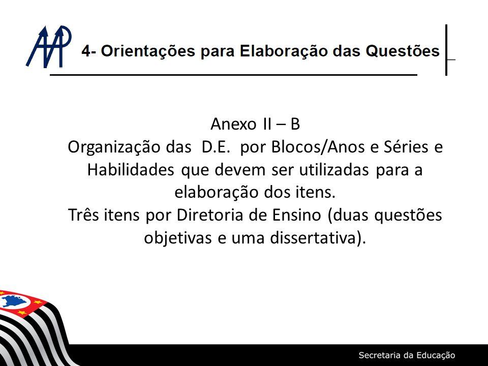 Anexo II – B Organização das D.E. por Blocos/Anos e Séries e Habilidades que devem ser utilizadas para a elaboração dos itens. Três itens por Diretori