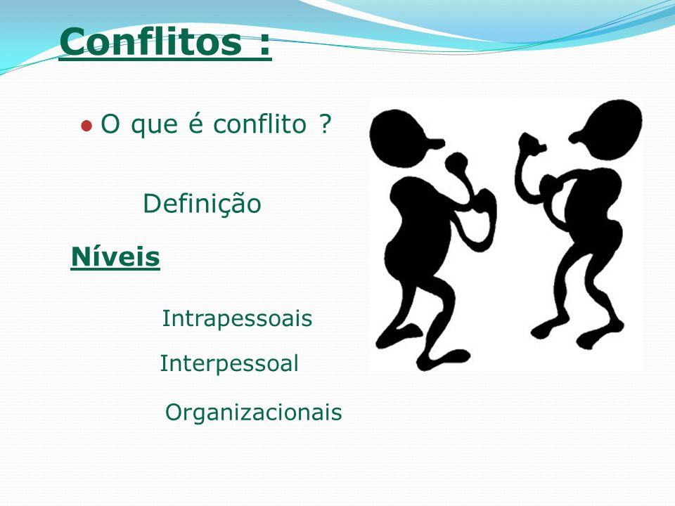 Conflitos : Situações que geram o conflito: Interdependência de funções Indefinição das regras; E a maior causa de conflitos: MUDANÇAS