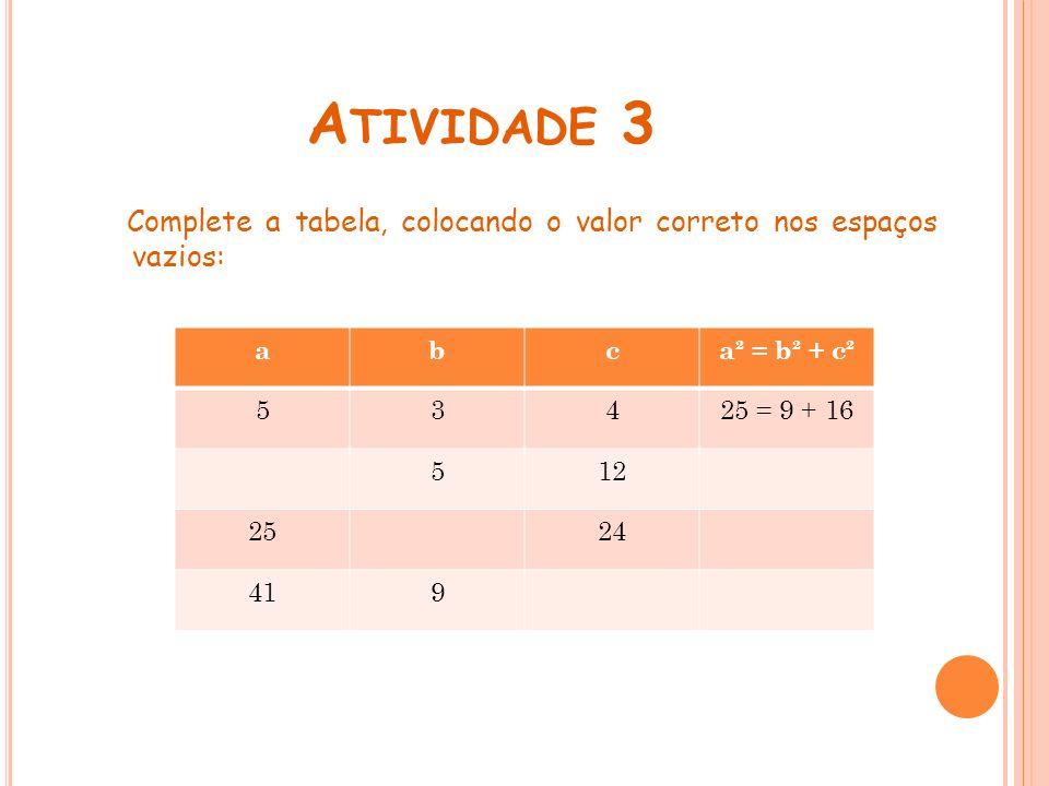 A TIVIDADE 3 Complete a tabela, colocando o valor correto nos espaços vazios: abca² = b² + c² 53425 = 9 + 16 512 2524 419