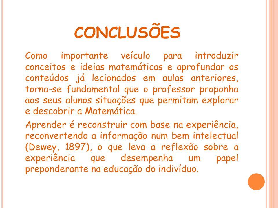 CONCLUSÕES Como importante veículo para introduzir conceitos e ideias matemáticas e aprofundar os conteúdos já lecionados em aulas anteriores, torna-s