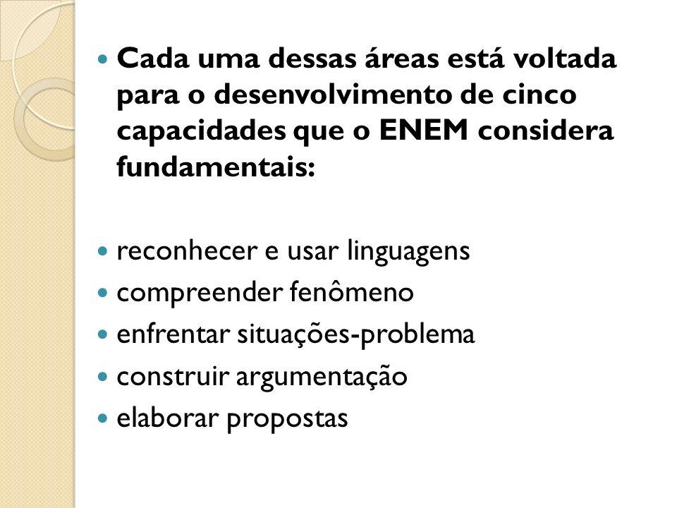 Cada uma dessas áreas está voltada para o desenvolvimento de cinco capacidades que o ENEM considera fundamentais: reconhecer e usar linguagens compreender fenômeno enfrentar situações-problema construir argumentação elaborar propostas