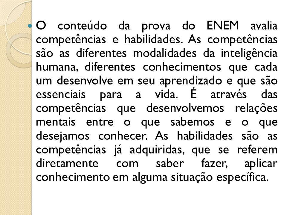 O conteúdo da prova do ENEM avalia competências e habilidades.