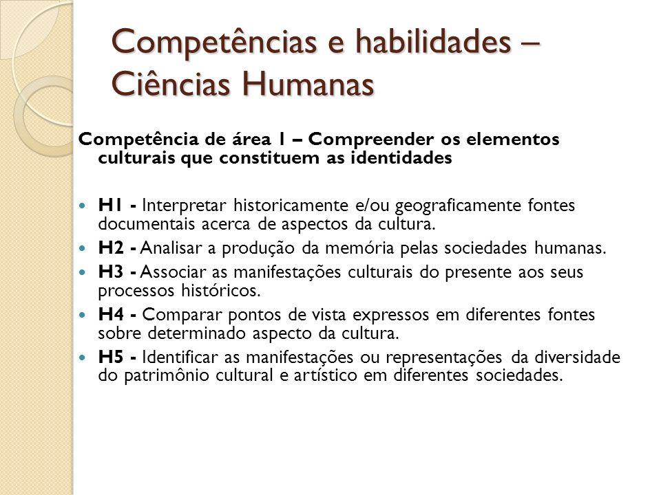 Competências e habilidades – Ciências Humanas Competência de área 1 – Compreender os elementos culturais que constituem as identidades H1 - Interpretar historicamente e/ou geograficamente fontes documentais acerca de aspectos da cultura.
