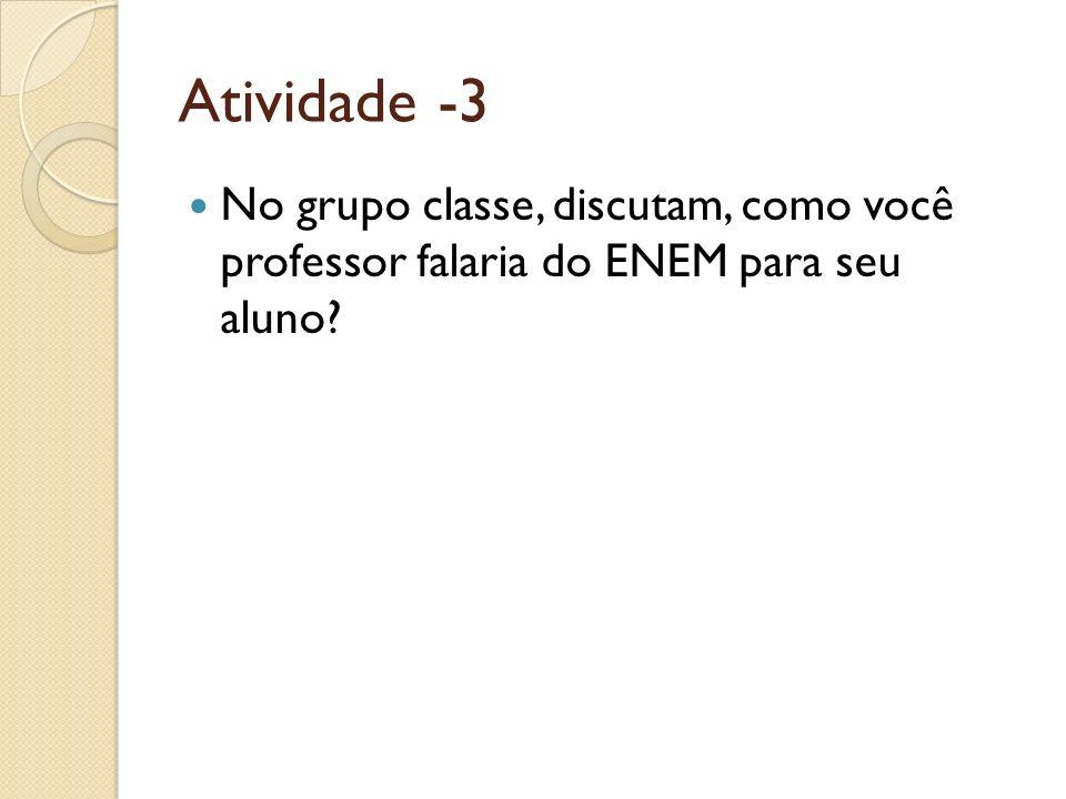 Atividade -3 No grupo classe, discutam, como você professor falaria do ENEM para seu aluno?