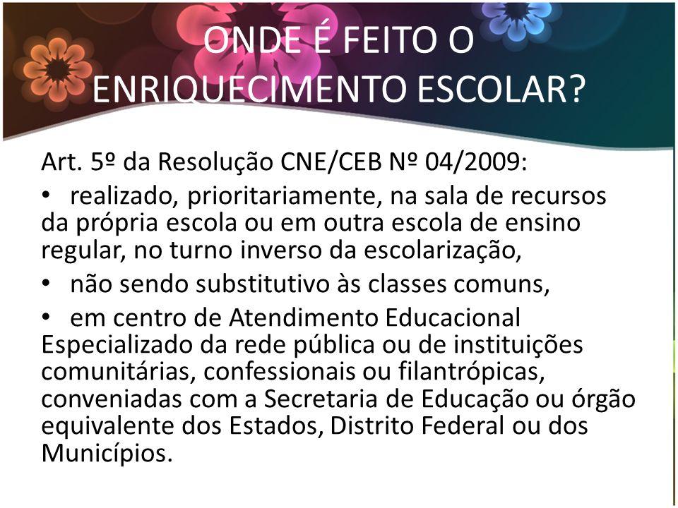 ONDE É FEITO O ENRIQUECIMENTO ESCOLAR? Art. 5º da Resolução CNE/CEB Nº 04/2009: realizado, prioritariamente, na sala de recursos da própria escola ou