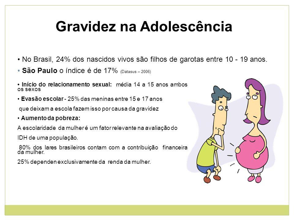 Gravidez na Adolescência No Brasil, 24% dos nascidos vivos são filhos de garotas entre 10 - 19 anos. São Paulo o índice é de 17% (Datasus – 2006) Iníc