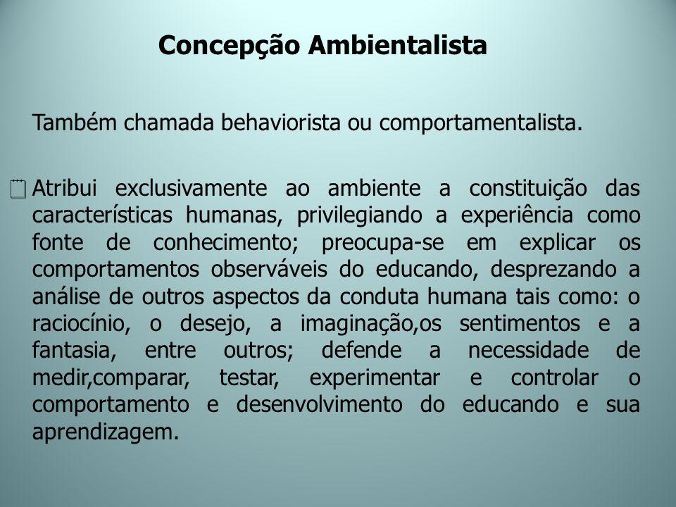 Concepção Ambientalista Também chamada behaviorista ou comportamentalista. Atribui exclusivamente ao ambiente a constituição das características human