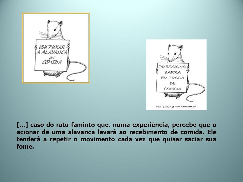 [...] caso do rato faminto que, numa experiência, percebe que o acionar de uma alavanca levará ao recebimento de comida. Ele tenderá a repetir o movim