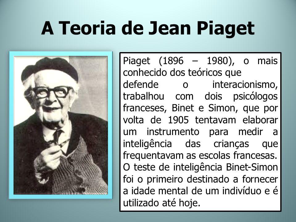 A Teoria de Jean Piaget Piaget (1896 – 1980), o mais conhecido dos teóricos que defende o interacionismo, trabalhou com dois psicólogos franceses, Bin