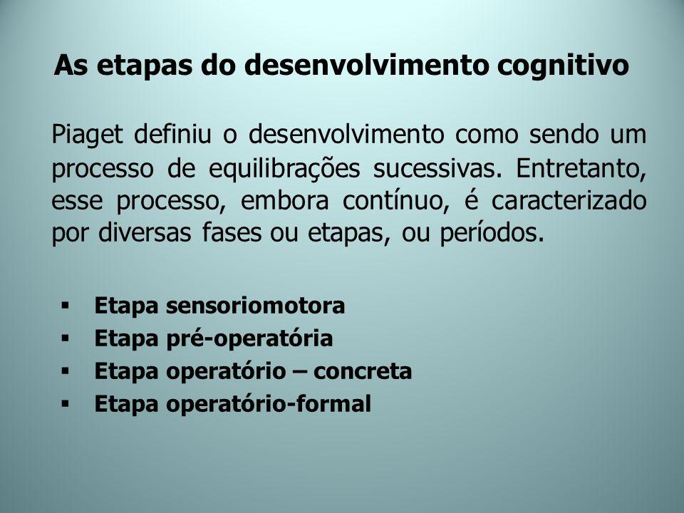 As etapas do desenvolvimento cognitivo Piaget definiu o desenvolvimento como sendo um processo de equilibrações sucessivas. Entretanto, esse processo,