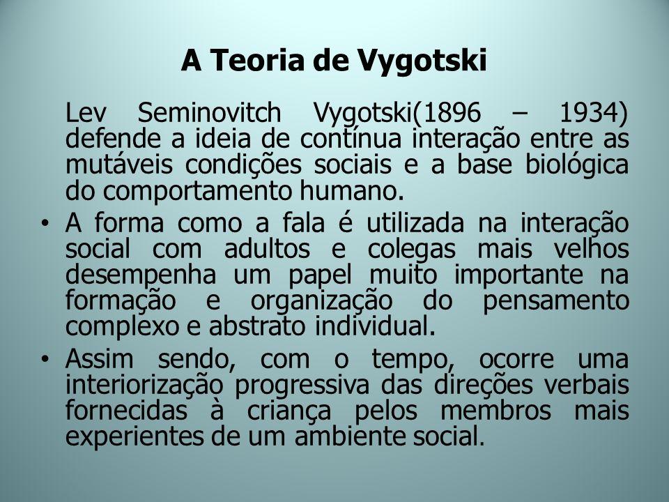 A Teoria de Vygotski Lev Seminovitch Vygotski(1896 – 1934) defende a ideia de contínua interação entre as mutáveis condições sociais e a base biológic