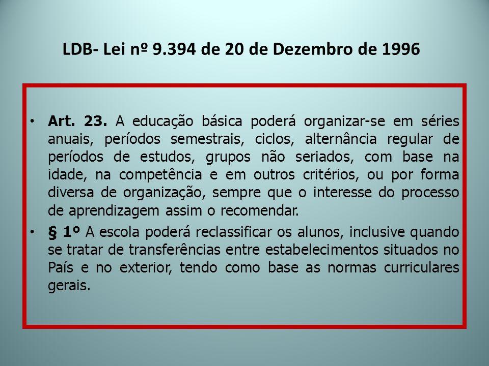 LDB- Lei nº 9.394 de 20 de Dezembro de 1996 Art. 23. A educação básica poderá organizar-se em séries anuais, períodos semestrais, ciclos, alternância