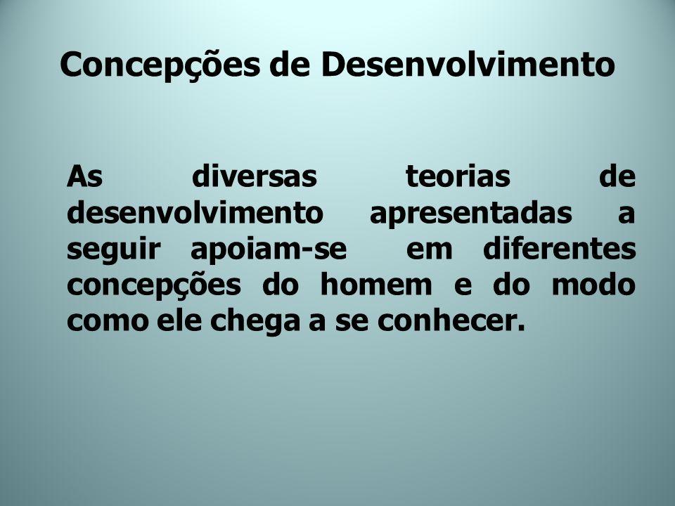 Concepções de Desenvolvimento As diversas teorias de desenvolvimento apresentadas a seguir apoiam-se em diferentes concepções do homem e do modo como