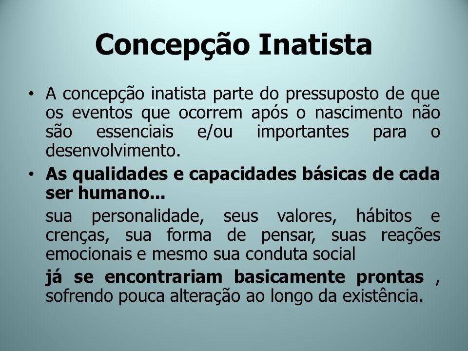 Concepção Inatista A concepção inatista parte do pressuposto de que os eventos que ocorrem após o nascimento não são essenciais e/ou importantes para