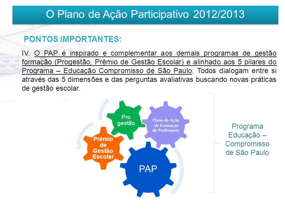 O Plano de Ação Participativo 2012/2013 PONTOS IMPORTANTES: III. É necessário o envolvimento da comunidade escolar (Conselho de Escola, APM, Grêmio Es