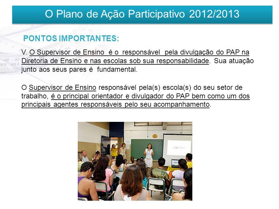 O Plano de Ação Participativo 2012/2013 PONTOS IMPORTANTES: IV. O PAP é inspirado e complementar aos demais programas de gestão formação (Progestão, P