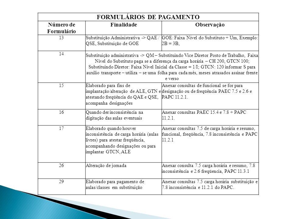 FORMULÁRIOS DE PAGAMENTO Número de Formulário FinalidadeObservação 13Substituição Administrativa -> QAE / QSE, Substituição de GOE GOE: Faixa Nível do