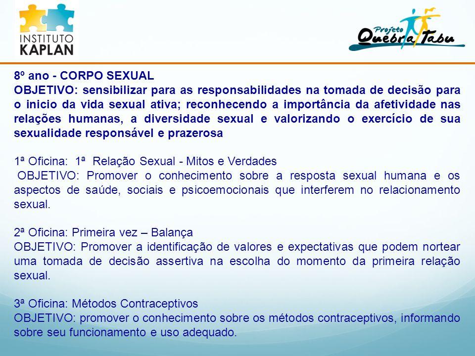8º ano - CORPO SEXUAL OBJETIVO: sensibilizar para as responsabilidades na tomada de decisão para o inicio da vida sexual ativa; reconhecendo a importâ