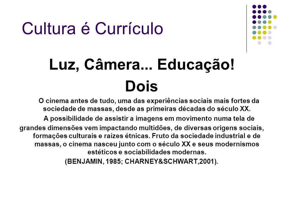 Cultura é Currículo Luz, Câmera... Educação! Dois O cinema antes de tudo, uma das experiências sociais mais fortes da sociedade de massas, desde as pr