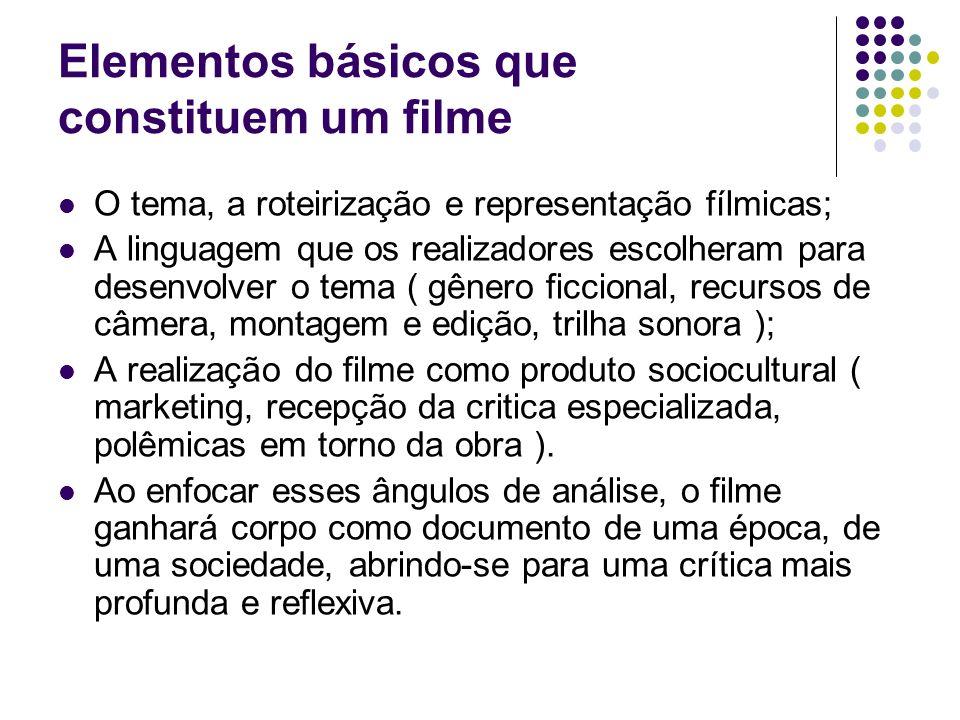 Elementos básicos que constituem um filme O tema, a roteirização e representação fílmicas; A linguagem que os realizadores escolheram para desenvolver