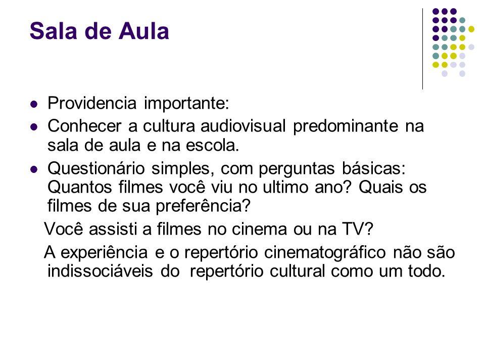 Sala de Aula Providencia importante: Conhecer a cultura audiovisual predominante na sala de aula e na escola. Questionário simples, com perguntas bási