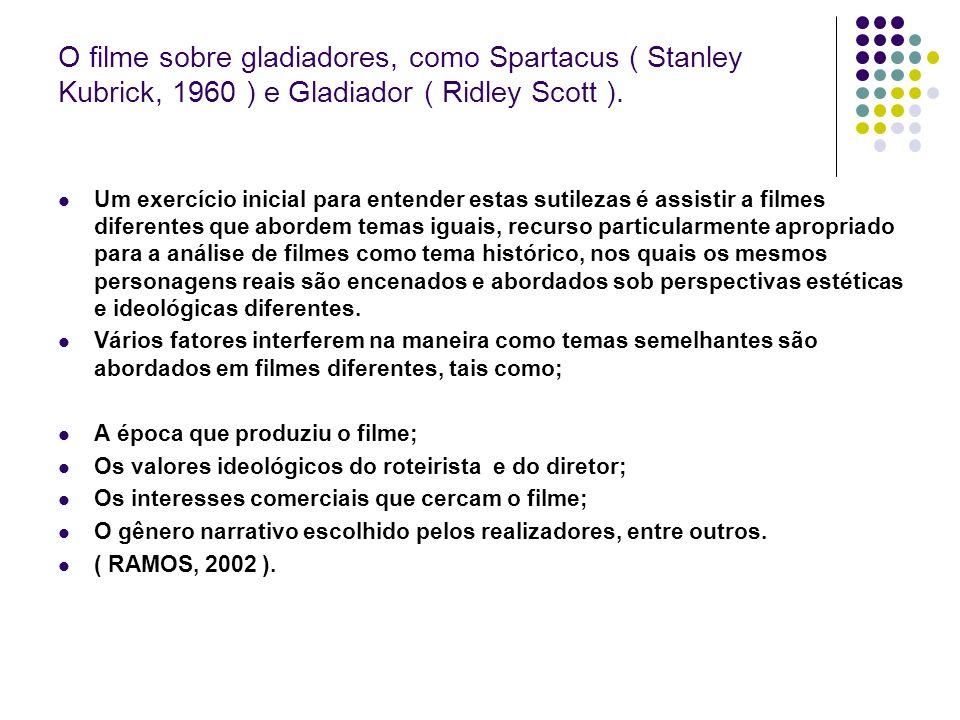 O filme sobre gladiadores, como Spartacus ( Stanley Kubrick, 1960 ) e Gladiador ( Ridley Scott ). Um exercício inicial para entender estas sutilezas é