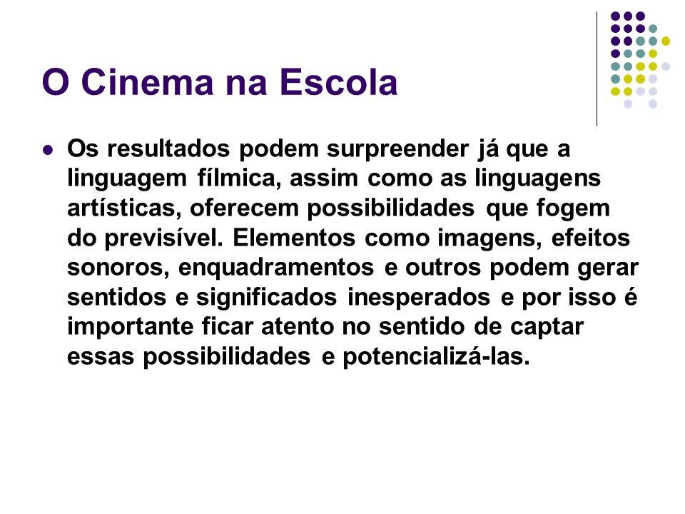 O Cinema na Escola Os resultados podem surpreender já que a linguagem fílmica, assim como as linguagens artísticas, oferecem possibilidades que fogem