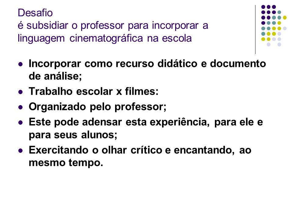 Desafio é subsidiar o professor para incorporar a linguagem cinematográfica na escola Incorporar como recurso didático e documento de análise; Trabalh