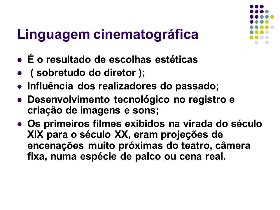 Linguagem cinematográfica É o resultado de escolhas estéticas ( sobretudo do diretor ); Influência dos realizadores do passado; Desenvolvimento tecnol