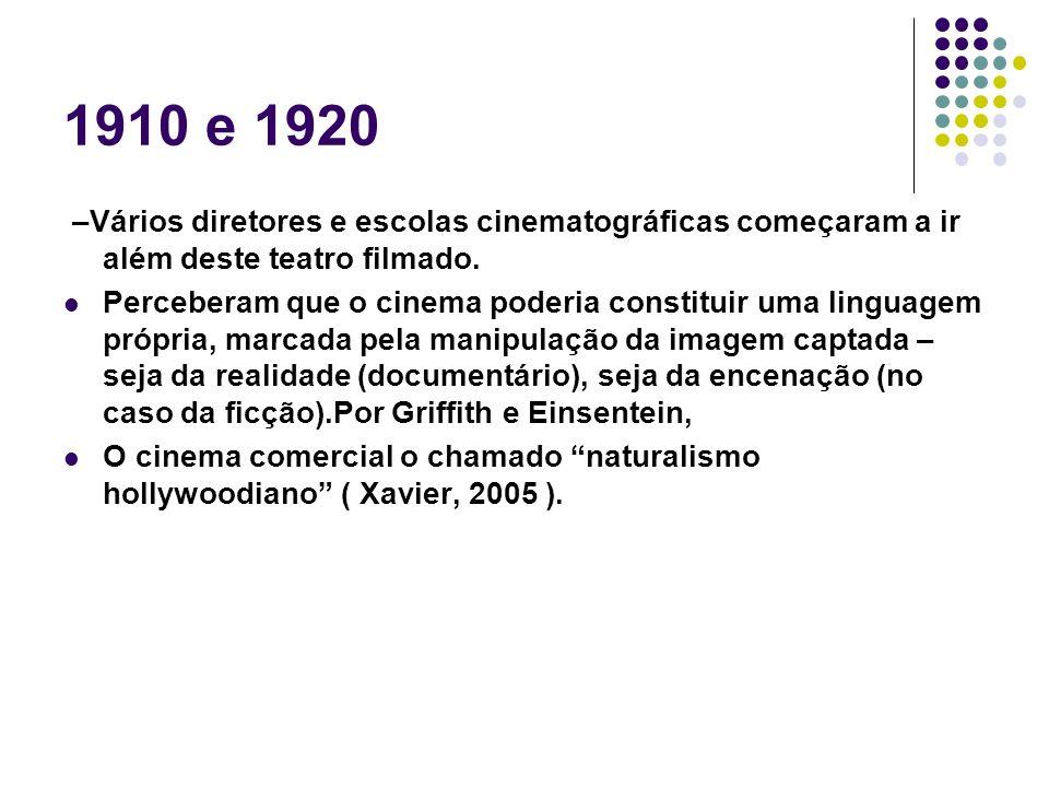 1910 e 1920 –Vários diretores e escolas cinematográficas começaram a ir além deste teatro filmado. Perceberam que o cinema poderia constituir uma ling