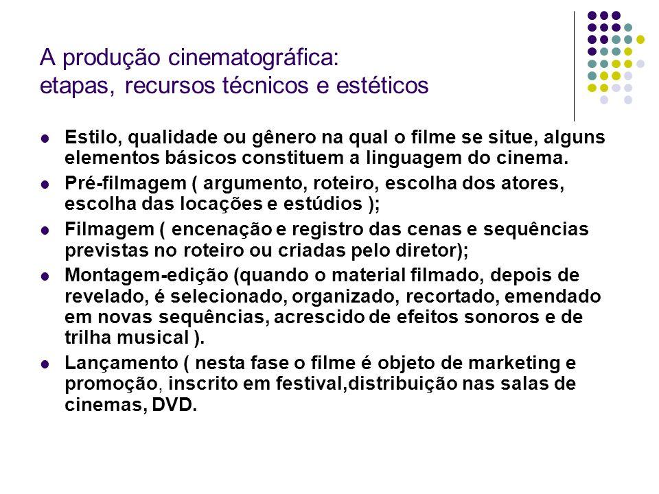 A produção cinematográfica: etapas, recursos técnicos e estéticos Estilo, qualidade ou gênero na qual o filme se situe, alguns elementos básicos const