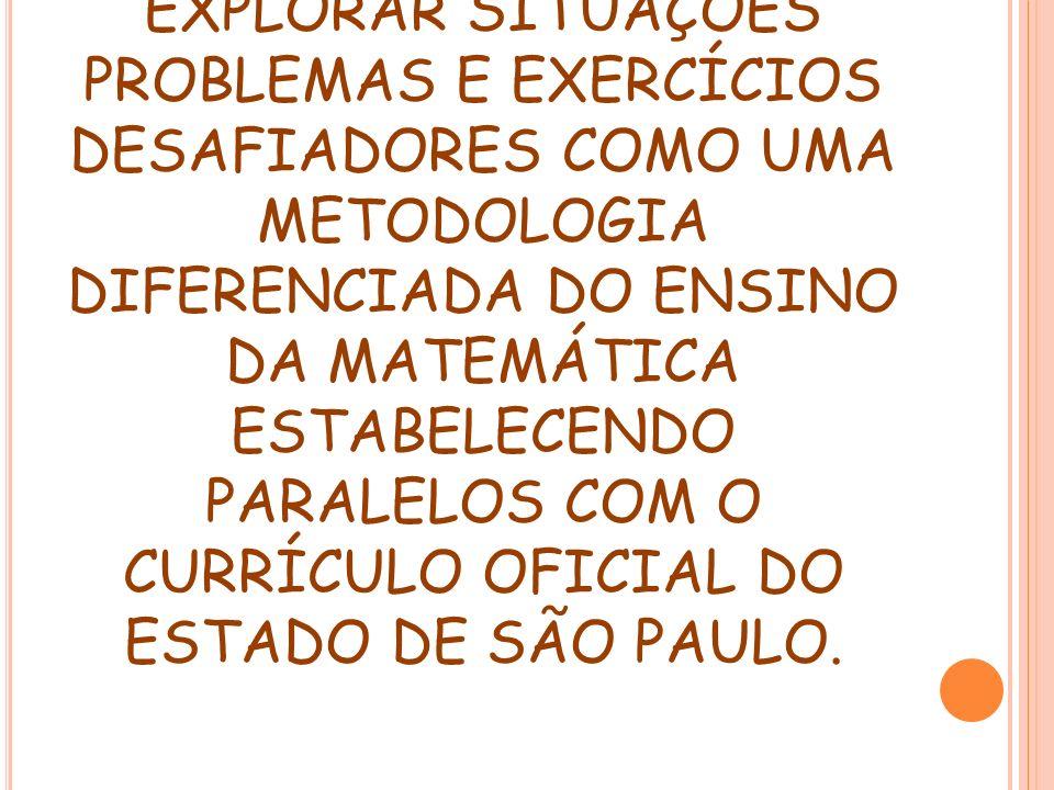 OBJETIVO DO ENCONTRO: EXPLORAR SITUAÇÕES PROBLEMAS E EXERCÍCIOS DESAFIADORES COMO UMA METODOLOGIA DIFERENCIADA DO ENSINO DA MATEMÁTICA ESTABELECENDO P